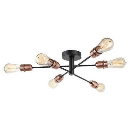 Потолочная люстра Lussole LGO Huron LSP-8200, IP21, 6xE27x60W, черный, металл