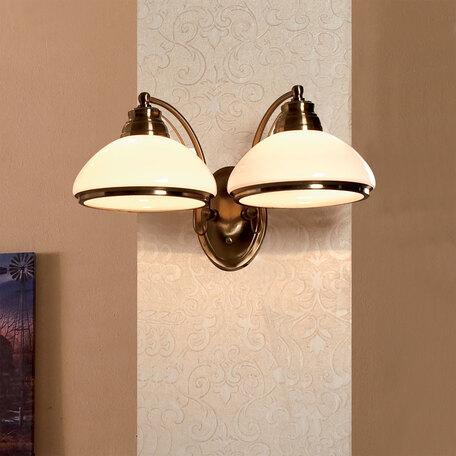 Бра Citilux Краков CL401323, 2xE27x75W, бронза, белый, металл, стекло