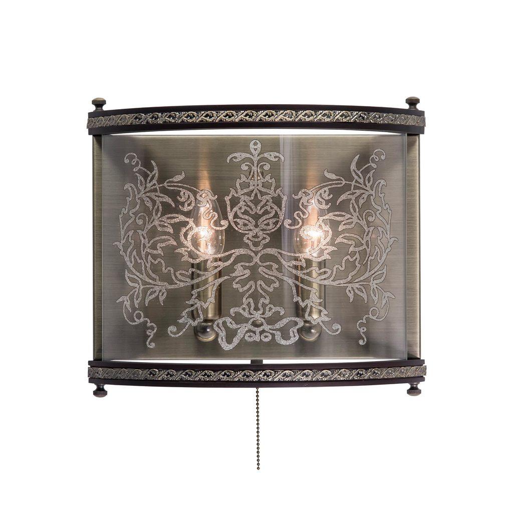 Бра Citilux Версаль Венге CL408323R, 2xE14x60W, бронза, венге, прозрачный, металл, дерево, стекло - фото 1