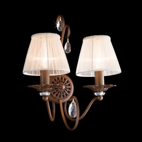 Основание бра Citilux Марлен CL411321, 2xE14x60W, коричневый, прозрачный, металл, хрусталь