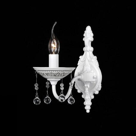 Бра Citilux Аттика CL416311, 1xE14x60W, белый, прозрачный, керамика, металл, хрусталь