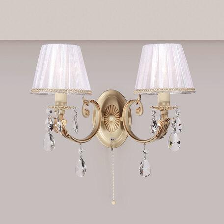 Бра Citilux Элиза CL423321, 2xE14x60W, бежевый, матовое золото, белый, прозрачный, металл, текстиль, хрусталь