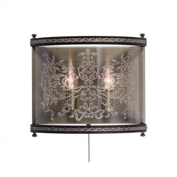 Настенный светильник Citilux Версаль Венге CL408323R, 2xE14x60W, бронза, венге, прозрачный, металл, дерево, стекло