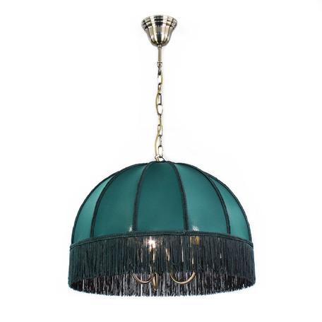 Подвесная люстра Citilux Базель CL407132, 3xE14x60W, бронза, зеленый, металл, текстиль
