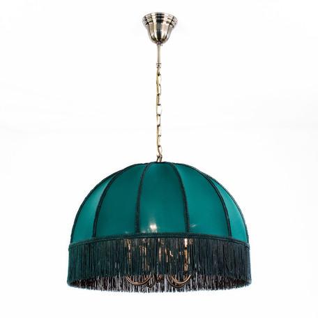 Подвесная люстра Citilux Базель CL407152, 5xE14x60W, бронза, зеленый, металл, текстиль