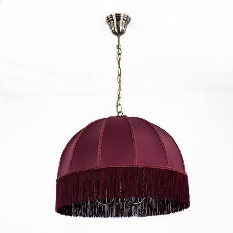 Подвесная люстра Citilux Базель CL407153, 5xE14x60W, бронза, красный, металл, текстиль