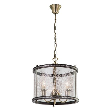 Подвесная люстра Citilux Версаль Венге CL408133R, 3xE14x60W, бронза, черный, прозрачный, дерево, металл, стекло