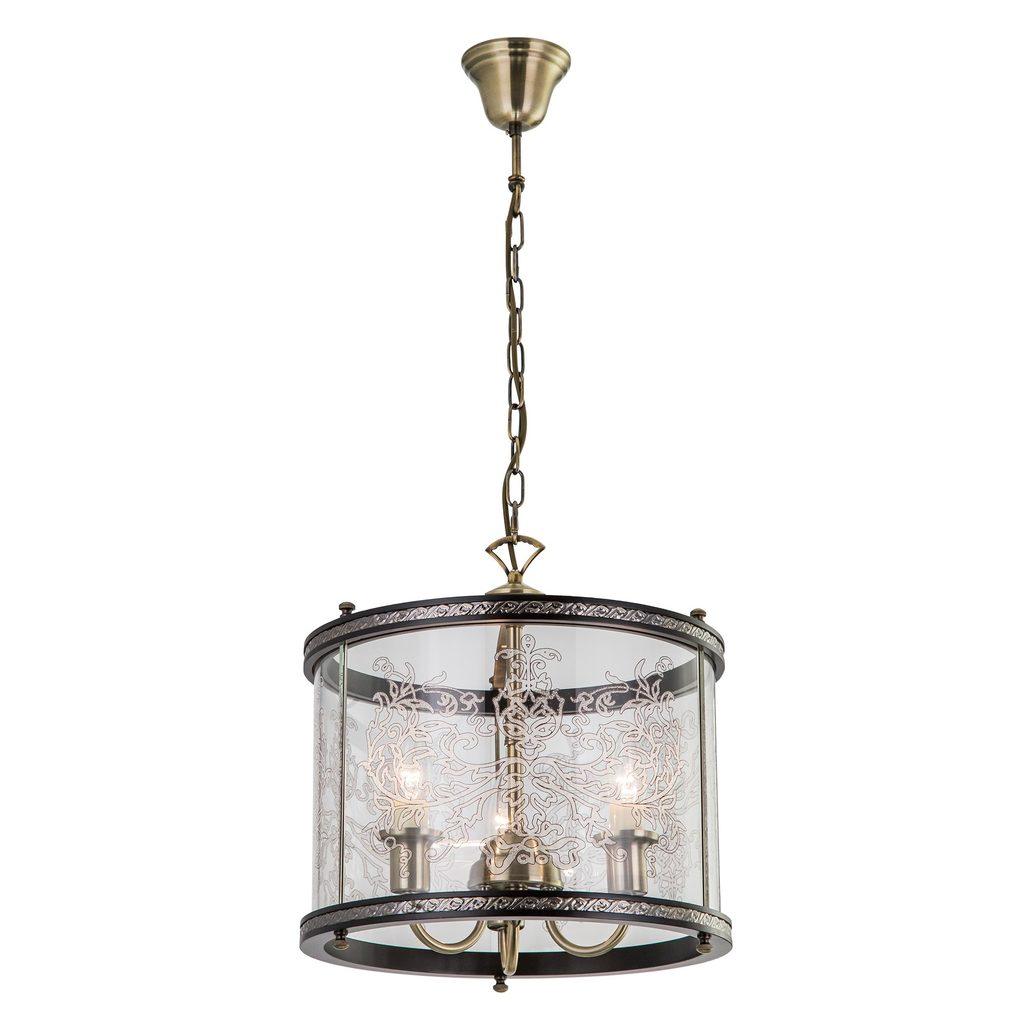Подвесная люстра Citilux Версаль Венге CL408133R, 3xE14x60W, бронза, венге, прозрачный, металл, дерево, стекло - фото 1