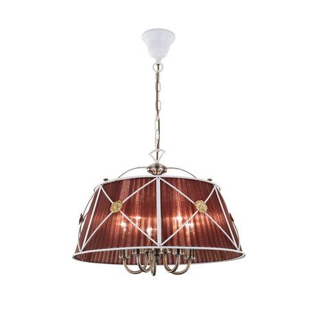 Подвесная люстра Citilux Дрезден CL409153, 5xE14x60W, белый, коричневый, металл, текстиль