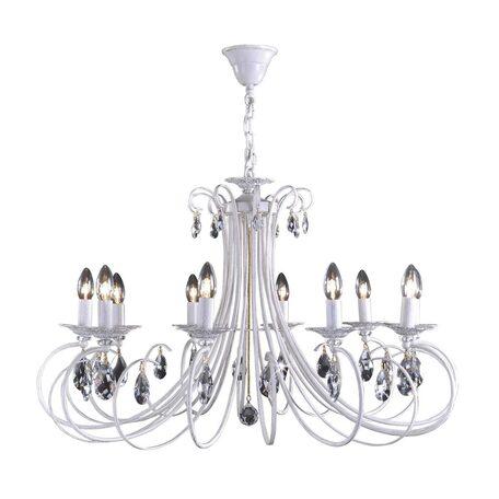 Основание подвесной люстры Citilux Джесси CL410102, 10xE14x60W, белый с золотой патиной, прозрачный, металл, хрусталь