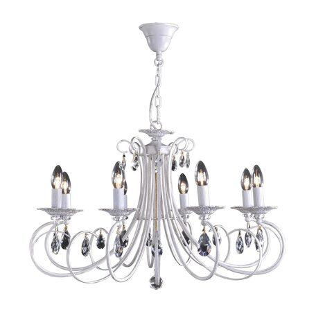 Основание подвесной люстры Citilux Джесси CL410182, 8xE14x60W, белый с золотой патиной, прозрачный, металл, хрусталь - миниатюра 1