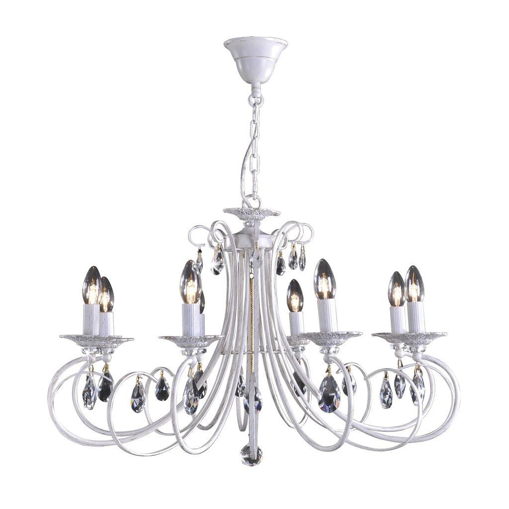 Основание подвесной люстры Citilux Джесси CL410182, 8xE14x60W, белый с золотой патиной, прозрачный, металл, хрусталь - фото 1
