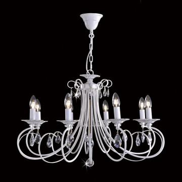 Основание подвесной люстры Citilux Джесси CL410182, 8xE14x60W, белый с золотой патиной, прозрачный, металл, хрусталь - миниатюра 2