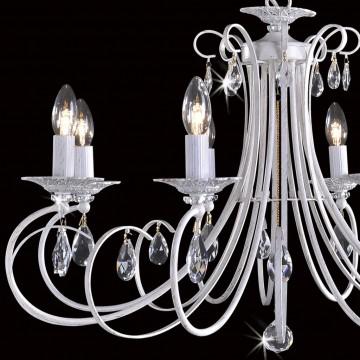 Основание подвесной люстры Citilux Джесси CL410182, 8xE14x60W, белый с золотой патиной, прозрачный, металл, хрусталь - миниатюра 4