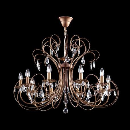 Подвесная люстра Citilux Марлен CL411101, 10xE14x60W, коричневый, прозрачный, металл, хрусталь