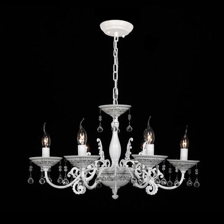 Подвесная люстра Citilux Аттика CL416161, 6xE14x60W, белый, прозрачный, керамика, металл, хрусталь
