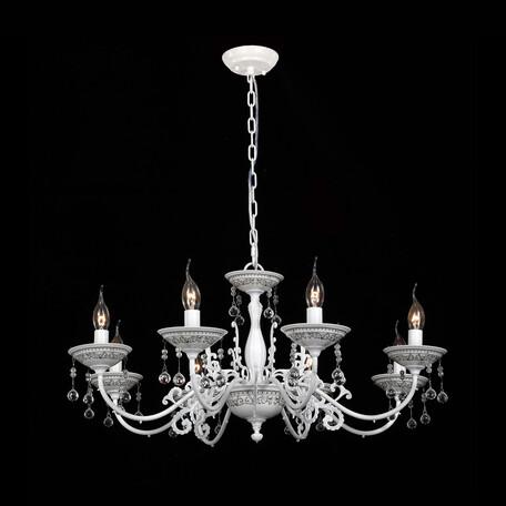 Подвесная люстра Citilux Аттика CL416181, 8xE14x60W, белый, прозрачный, керамика, металл, хрусталь
