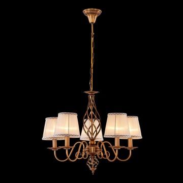 Подвесная люстра Citilux Ровена CL427151, 5xE14x60W, бронза, бежевый, металл, текстиль - миниатюра 2