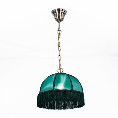 Подвесной светильник Citilux Базель CL407112, 1xE27x60W, бронза, зеленый, металл, текстиль