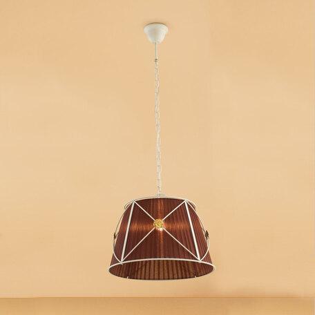 Подвесной светильник Citilux Дрезден CL409113, 1xE27x100W, белый, коричневый, металл, текстиль