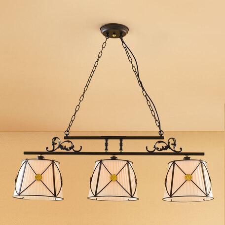 Подвесной светильник Citilux Дрезден CL409233, 3xE27x60W, венге, бежевый, металл, текстиль