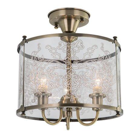 Потолочная люстра Citilux Версаль CL408233, 3xE14x60W, бронза, прозрачный, металл, стекло