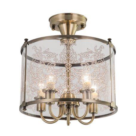 Потолочная люстра Citilux Версаль CL408253, 5xE14x60W, бронза, прозрачный, металл, стекло