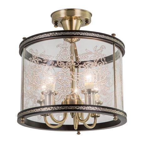 Потолочная люстра Citilux Версаль Венге CL408253R, 5xE14x60W, бронза, венге, прозрачный, металл, дерево, стекло