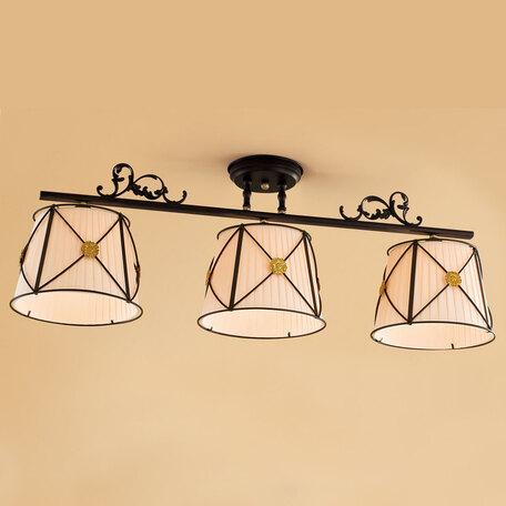 Потолочный светильник Citilux Дрезден CL409231, 3xE27x60W, венге, бежевый, металл, текстиль