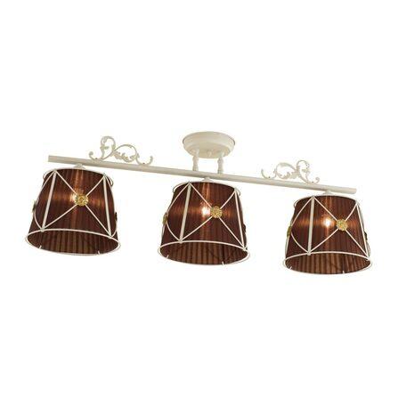 Потолочный светильник Citilux Дрезден CL409235, 3xE27x60W, белый, коричневый, металл, текстиль - миниатюра 1