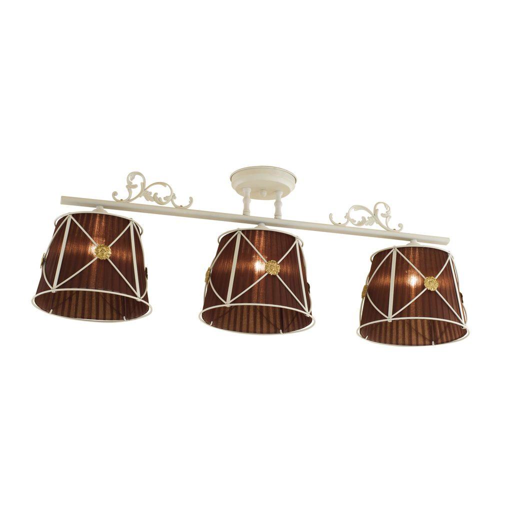 Потолочный светильник Citilux Дрезден CL409235, 3xE27x60W, белый, коричневый, металл, текстиль - фото 1