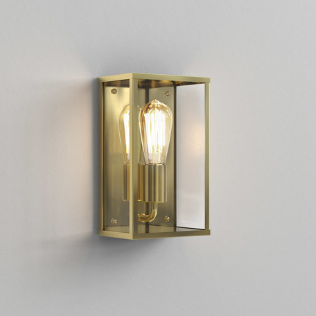 Настенный светильник Astro Homefield Coastal 1095034, IP44, 1xE27x12W, матовое золото, прозрачный, стекло