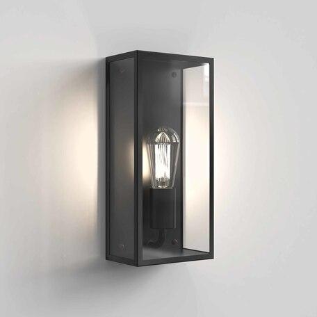 Настенный светильник Astro Messina 1183021, IP44, 1xE27x12W, черный, прозрачный, стекло