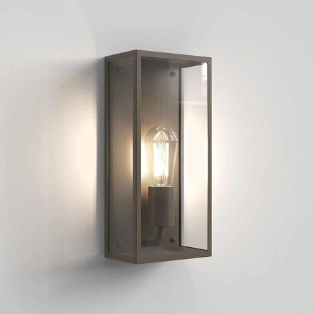 Настенный светильник Astro Messina 1183023, IP44, 1xE27x12W, бронза, прозрачный, стекло