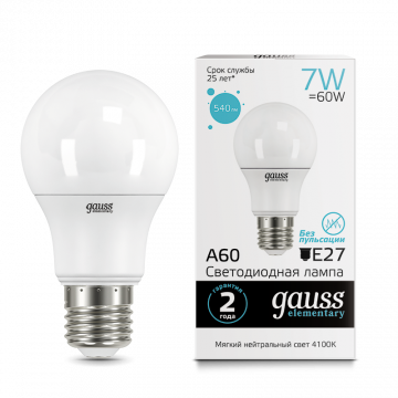 Светодиодная лампа Gauss Elementary 23227A груша E27 7W, 4100K (холодный) CRI>80 150-265V, гарантия 2 года