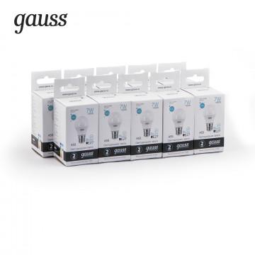 Светодиодная лампа Gauss Elementary 23227A груша E27 7W, 4100K (холодный) CRI>80 150-265V, гарантия 2 года - миниатюра 2