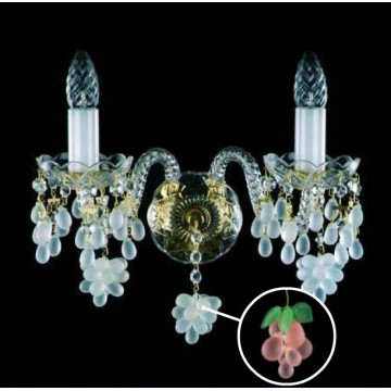 Бра Artglass ANGELA II. ROZALIN, 2xE14x40W, белый, золото, прозрачный, зеленый, розовый, стекло