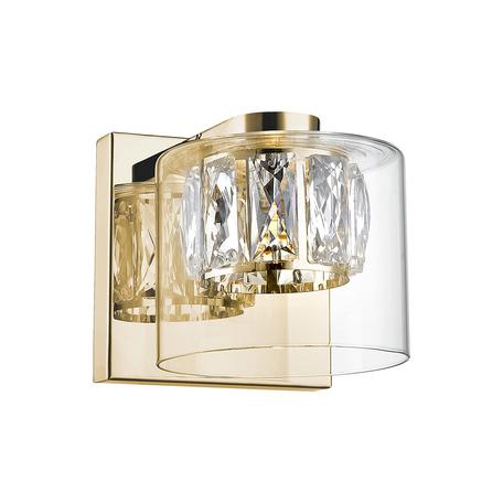 Светодиодное бра Zumaline Gem W0389-01A-F7AC, LED 5W 3000K 450lm, золото, прозрачный, металл, стекло