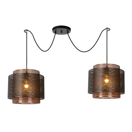 Подвесной светильник Lucide Orrin 02404/02/30, 2xE27x60W, черный, металл