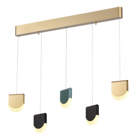 Подвесной светодиодный светильник Odeon Light Rebel 3861/29L, LED 29W 3000K 2400lm, матовое золото, бирюзовый, разноцветный, металл, пластик