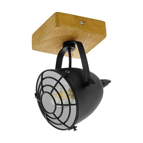 Потолочный светильник с регулировкой направления света Eglo Trend & Vintage Industrial Gatebeck 49076, 1xE14x40W, коричневый, черный, дерево, металл