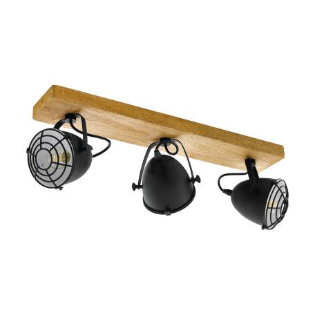 Потолочный светильник с регулировкой направления света Eglo Trend & Vintage Industrial Gatebeck 49078, 3xE14x40W, коричневый, черный, дерево, металл