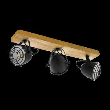 Потолочный светильник с регулировкой направления света Eglo Gatebeck 49078, коричневый, черный, дерево, металл