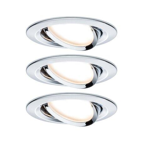 Встраиваемый светильник Paulmann Nova LED GU10 230V 93470, IP23, 1xGU10x6,5W, хром, металл