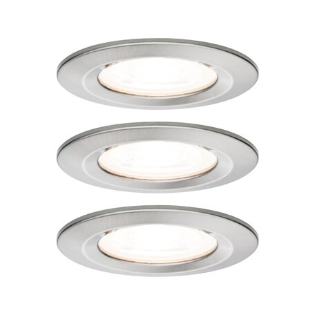 Встраиваемый светильник Paulmann Nova LED GU10 230V 93476, IP44, 1xGU10x6,5W, матовый хром, металл