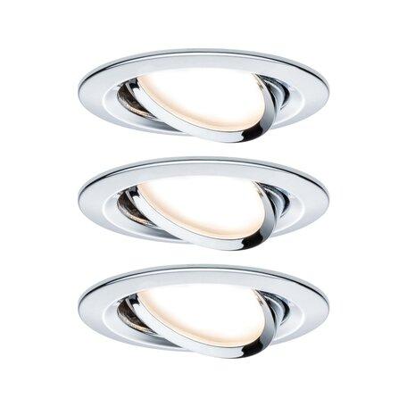 Встраиваемый светодиодный светильник Paulmann Nova LED Coin 230V step-dim 93488, IP23, LED 6,5W, хром, металл