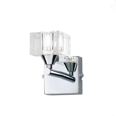 Бра Mantra Cuadrax 0962, хром, прозрачный, металл, стекло
