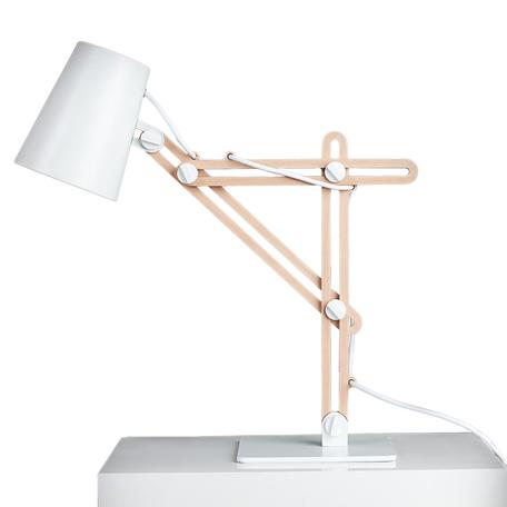 Настольная лампа Mantra Looker 3615, белый, коричневый, дерево, металл