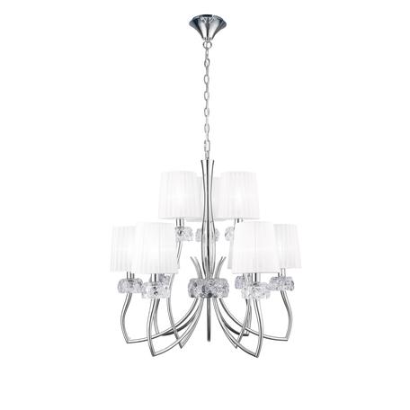 Подвесная люстра Mantra Loewe 4630, прозрачный, хром, белый, металл, стекло, текстиль