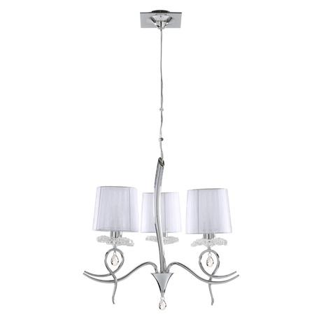 Подвесная люстра Mantra Louise 5273, хром, белый, прозрачный, металл, стекло, текстиль, хрусталь